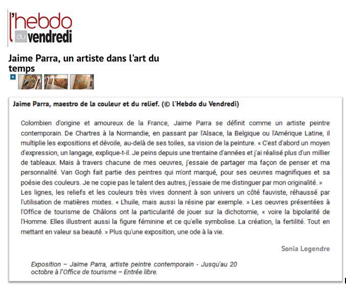 Article dans L'Hebdo du Vendredi, 11 octobre 2016