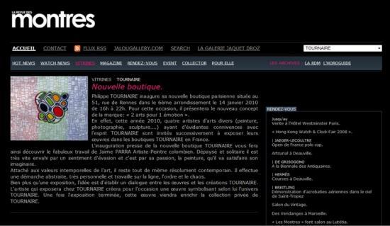 Site internet La revue des montres, fév2010