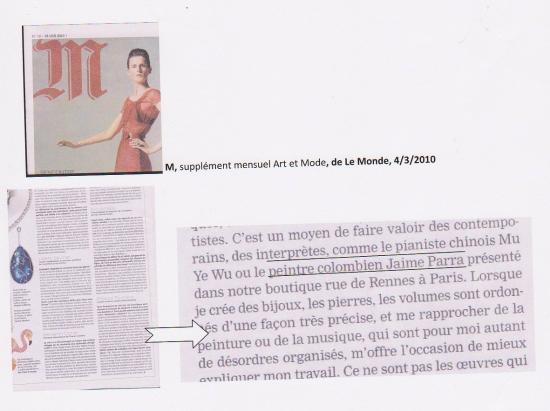 M, Le Monde, 4/3/2010