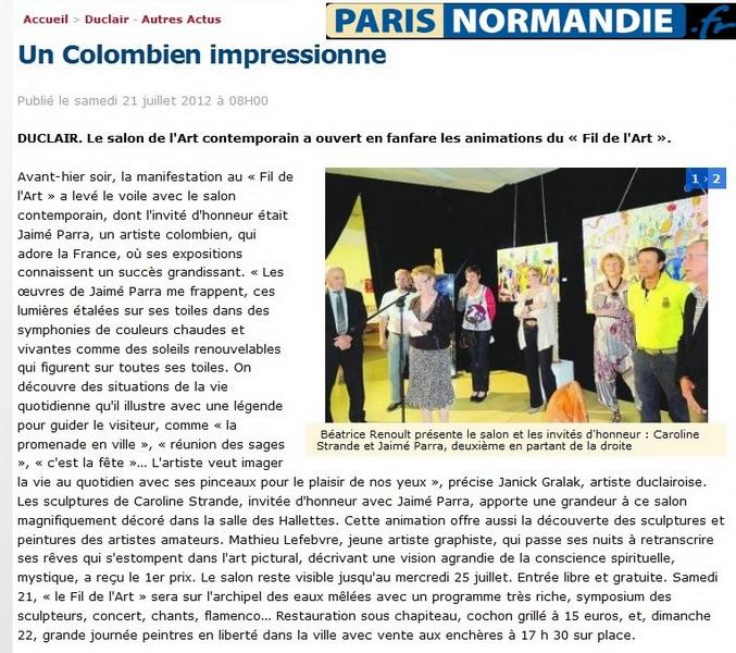 Article sur Jaime Parra dans Paris-Normandie 21 juillet 2012